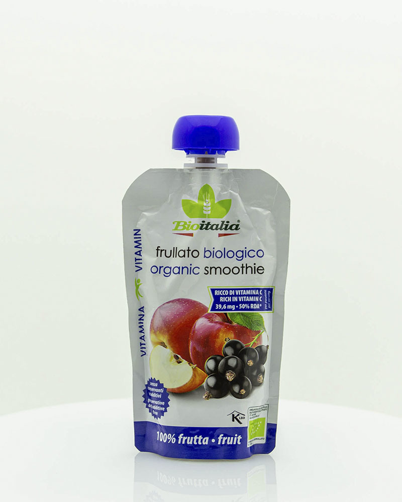 Пюре Bioitalia из яблока и черной смородины-смузи 120 гр.