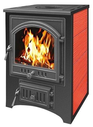 Печь - камин Везувий ПК - 01 красный с плитой 12 кВт дверка 205