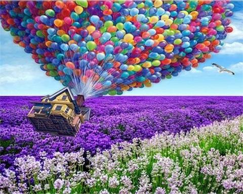 Алмазная Мозаика 40x50 Дом летит на воздушных шарах (арт. GA71996 )