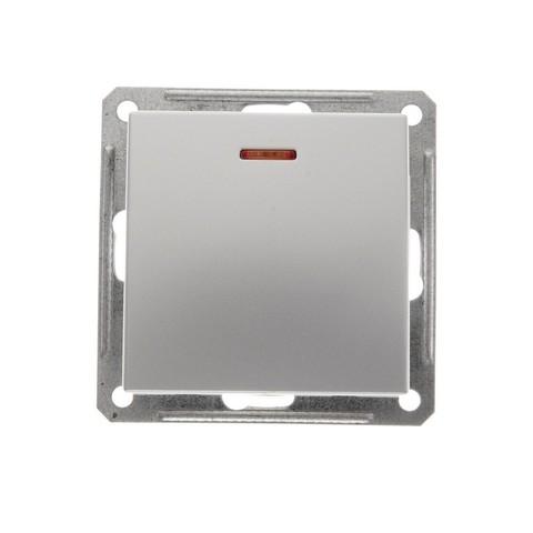 Выключатель одноклавишный с подсветкой, 16АХ. Цвет Матовый хром. Schneider Electric Wessen 59. VS116-153-5-86