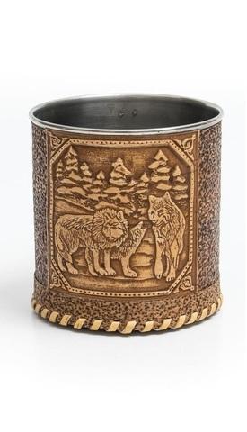 Кружка декорированная берестой «Волки», 500 мл
