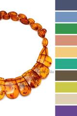 цветовая шпаргалка по подбору одежды - несколько вариантов для коньячного янтаря