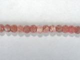 Бусина из родохрозита, фигурная, 3x4 мм (рондель, граненая)