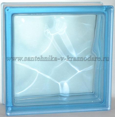 Стеклоблок голубой  окраска в массе Vitrablok  19x19x8