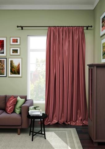 Готовая штора сатен Авери с подхватом бордо