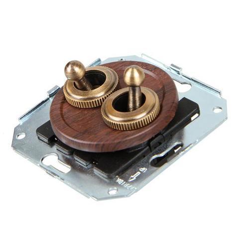 Выключатель тумблерныйный четырёх позиционный для внутреннего монтажа проходной. Цвет Вишня. Salvador. CL51CH