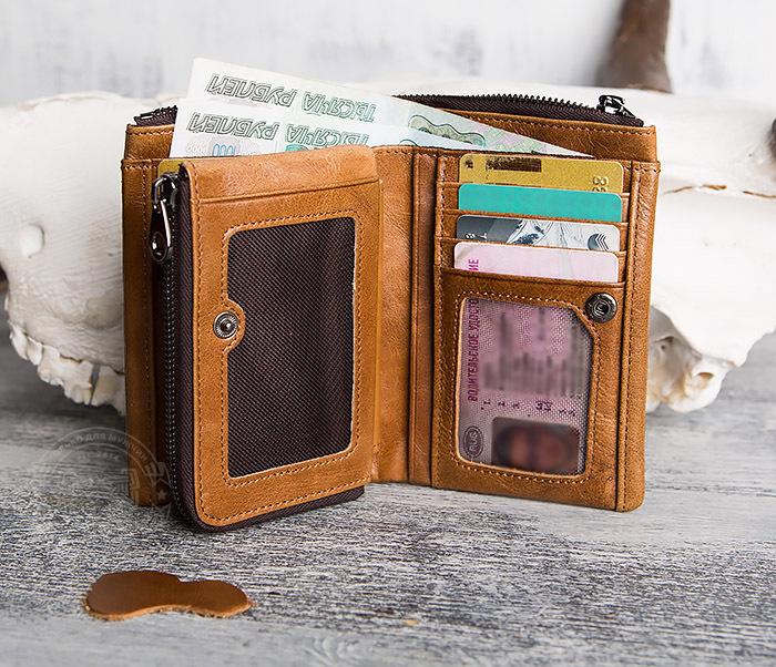 WL285-2 Мужской кошелек из натуральной кожи на молнии фото 11