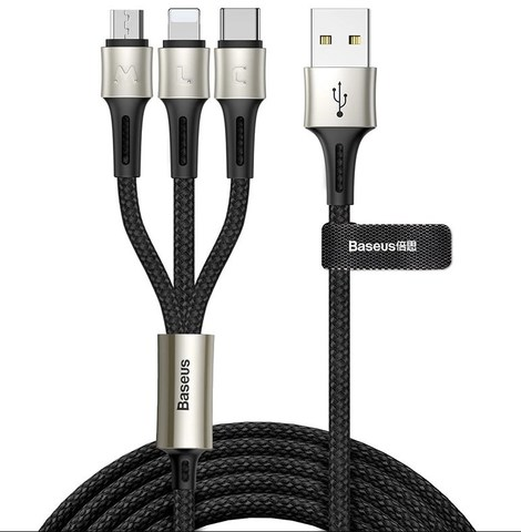 Кабель Baseus caring touch selection 1-in-3 USB cable Black
