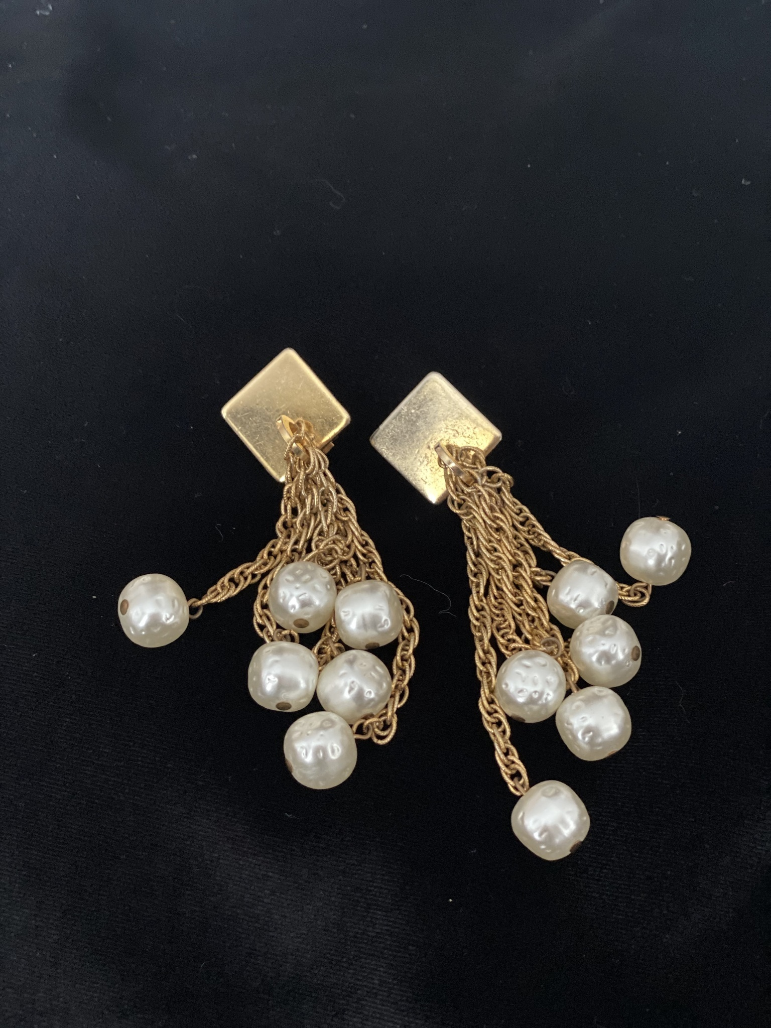 YSL Vintage Clip-on Earrings with Chains and Pearls
