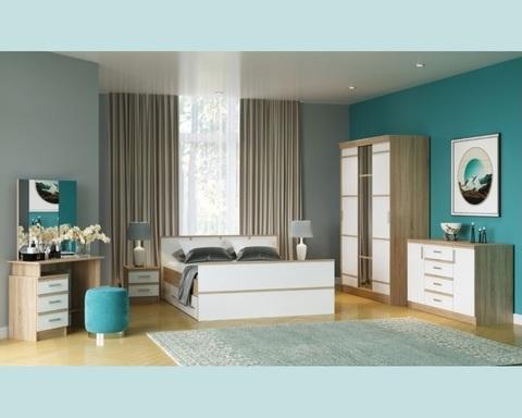 Спальня модульная САКУРА-2 дуб сонома / белый глянец