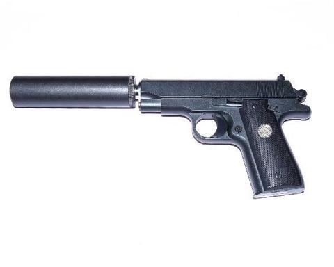 Cтрайкбольный пистолет Galaxy G.2A Browning mini с имитацией глушителя