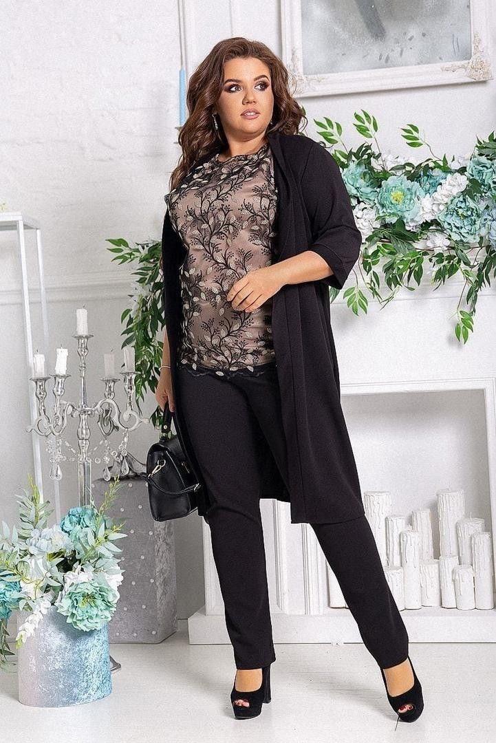 Костюм тройка (черный) (кардиган + брюки +блузка).550ЛЗ.