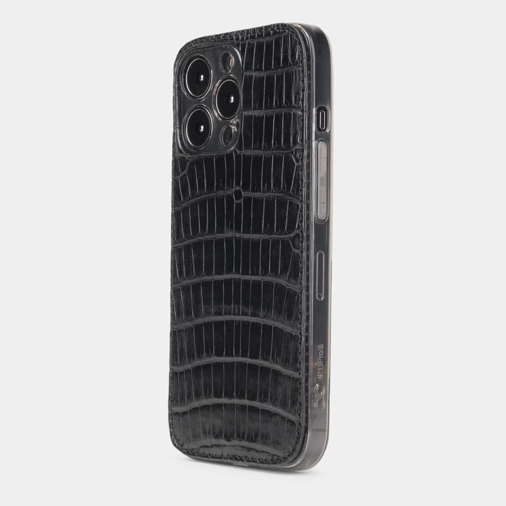 Чехол-накладка для iPhone 13 Pro из натуральной кожи крокодила, черного цвета