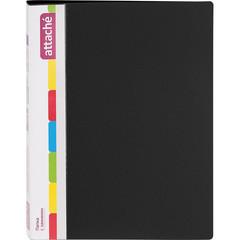 Папка с зажимом Attache А4 0.7 мм черная (до 150 листов, с карманом для CD и визиток)