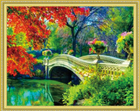 Алмазная Мозаика 40x50 Белый мост с цветами