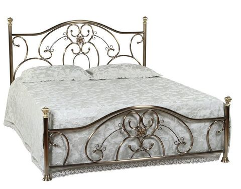Кровать 9701 MK-2208-AB двуспальная 164х201 см Античная медь