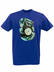 Футболка с принтом мультфильма Алиса в стране чудес, Чеширский Кот (Alice's Adventures in Wonderland) синяя 009