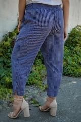 Миранда. Укороченные летние брюки больших размеров. Синий ромб.