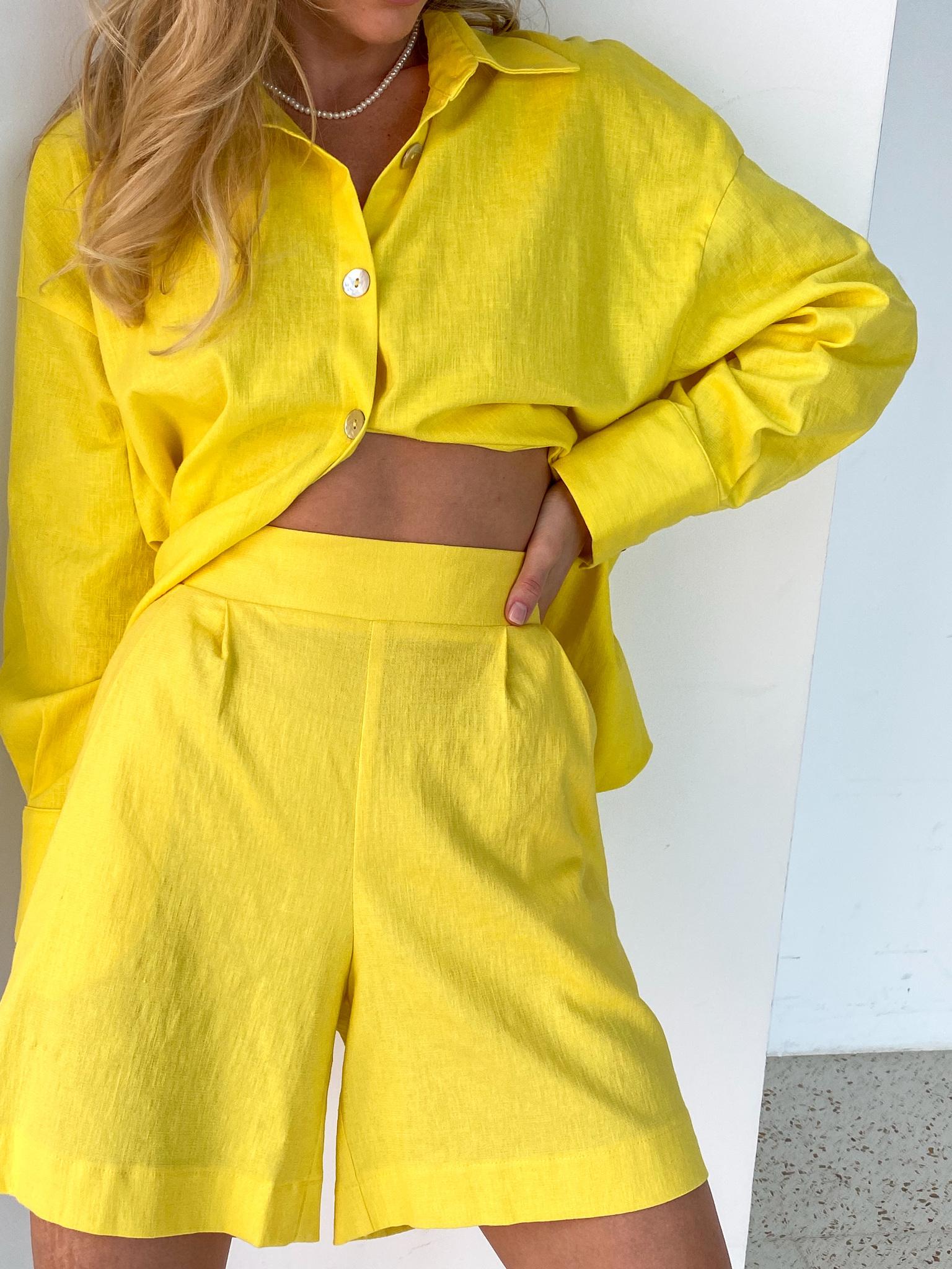 Рубашка объемная изо льна (лимонный)