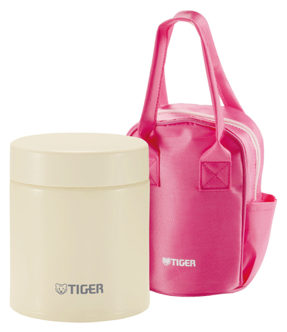Термос для еды Tiger MCJ-A (0,5 литра) в сумке, бежевый