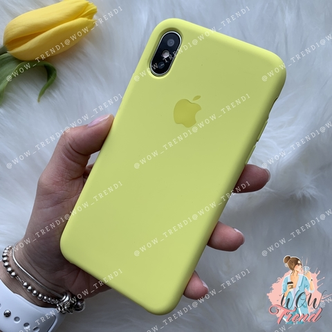 Чехол iPhone X/XS Silicone Case /flash/ лимонный 1:1