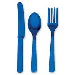 Столовые приборы пластик Синий / Br Royal Blue / 24 шт.