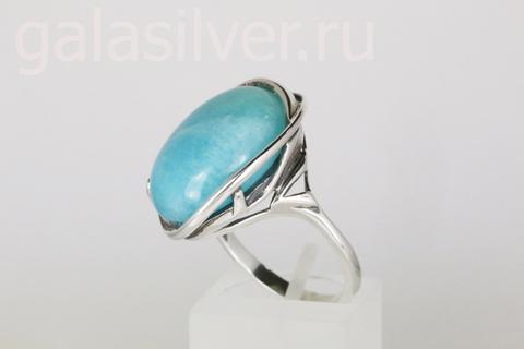 Кольцо с амазонитом из серебра 925