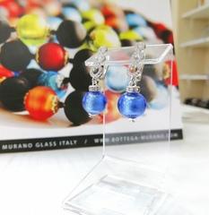 Серьги из муранского стекла со стразами Sandra ярко-голубые цвет FA056