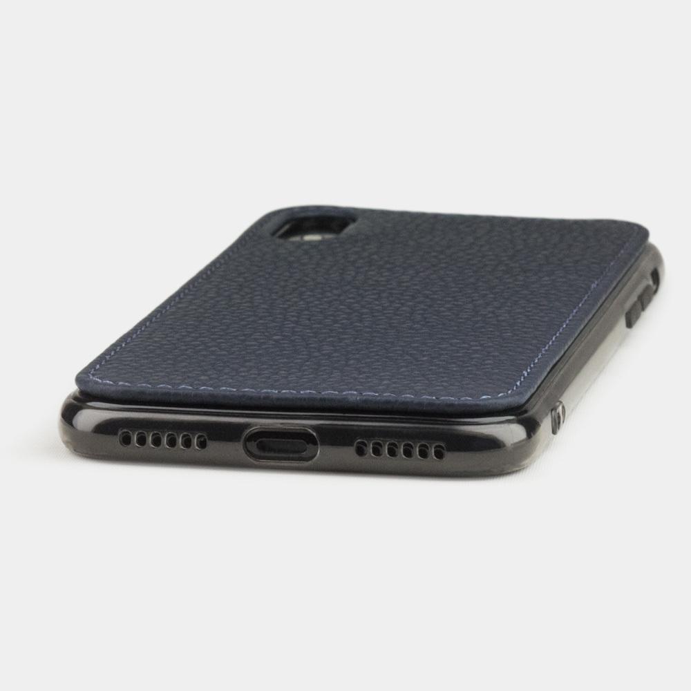 Чехол-накладка для iPhone X/XS из натуральной кожи теленка, цвета синий мат