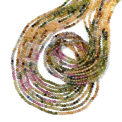 Бусины турмалин микс АА граненый 2 мм цена за 185 бусин (~39 см)