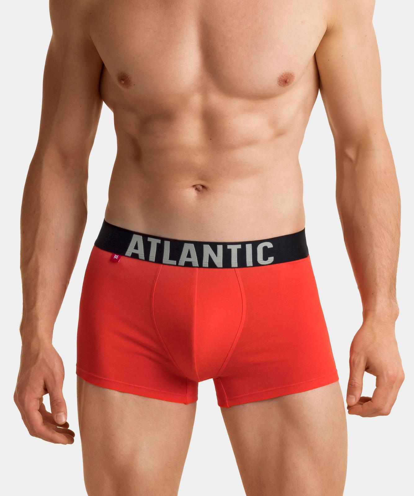 Мужские трусы шорты Atlantic, набор из 3 шт., хлопок, хаки + серый меланж + оранжевые, 3SMH-003