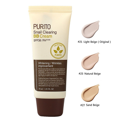 Purito BB-крем с муцином улитки Snail Clearing BB cream SPF38 PA+++ №21, 30 мл