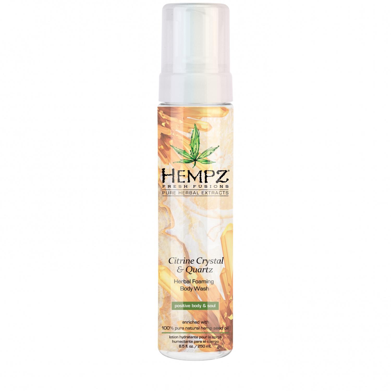 Hempz - Средства для душа: Гель-мусс для душа с мерцающим эффектом Желтый Квапц (Citrine Crystal & Quartz Herbal Foaming Body Wash), 250мл
