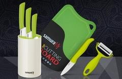 SKC-005G Набор из 3-ех керамических ножей, подставки, овощечистки, фрутоножика и доски.