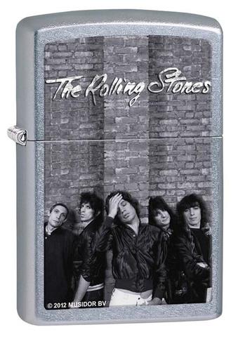Зажигалка Zippo Rolling Stones, латунь с покрытием Street Chrome, серебристая, 36х12x56 мм