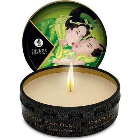 Массажная свеча Exotic Green Tea с ароматом зелёного чая - 30 мл.