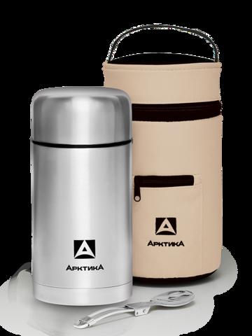 Термос для еды Арктика (301-1000А в чехле) 1 литр с супер-широким горлом, стальной, чехол*
