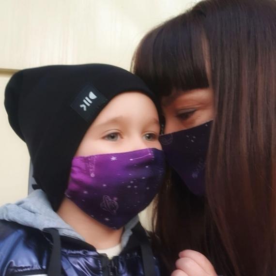 Марлевые маски детская и взрослая Adam Stork Blue Stars