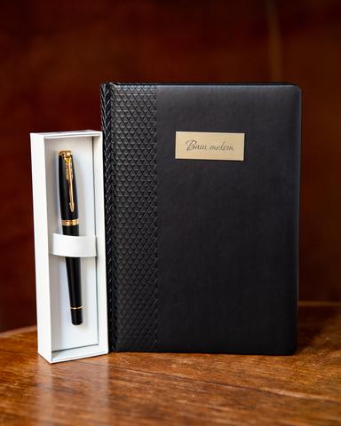 Набор с гравировкой: Ежедневник и ручка роллер Parker Urban Core Muted Black GT