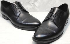 Черные туфли мужские осенние Ikoc 2249-1 Black Leather.