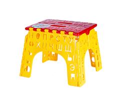 Табурет детский АЛФАВИТ складной из пластика Эльфпласт 23х20х19 см Красно-желтый