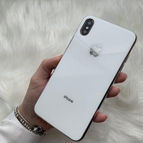 Чехол iPhone XS MAX Glass Case Logo /white/