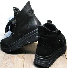Кожаные ботинки на шнуровке женские на весну осень Rifellini Rovigo 525 Black.