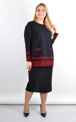 Венето. Жіночий стильний костюм з люрексом плюс сайз. Червоний.