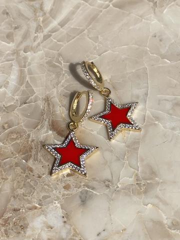 Серьги Стелла из позолоченного серебра, красная эмаль