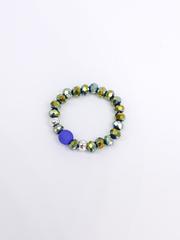 Кольцо из зелёно-синего хамелеона хрусталя, синей матовой бусины и серебра  оптом и в розницу