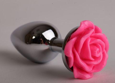 Серебристая анальная пробка с розовой розочкой - 9,5 см.