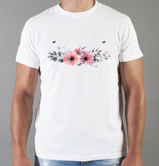 Футболка с принтом Цветы (Маки) белая 007