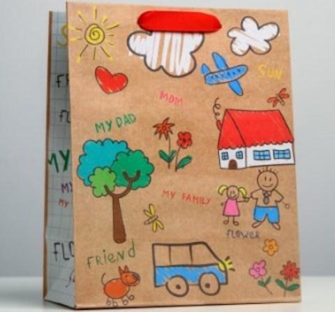 060-0077 Пакет крафтовый вертикальный My family, MS 18 × 23 × 10 см