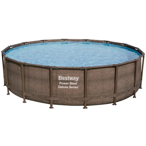 Каркасный бассейн Bestway Ротанг 56666 (488х122 см) с картриджным фильтром / 18198